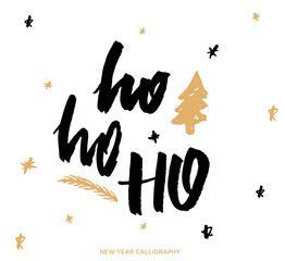Ho ho ho. Merry christmas and New Year lettering and calligraphy