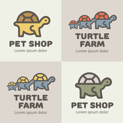 Set of lines icons turtless in diffrerent colors