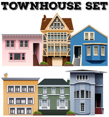 Different design of townhouses