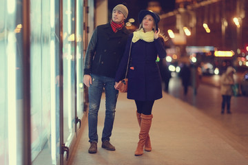 couple winter sale young man and woman