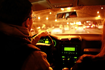 driver in the car at night