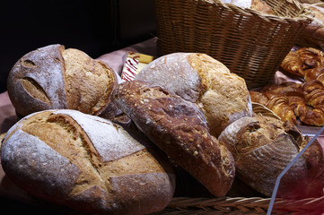 Close-up of various breads