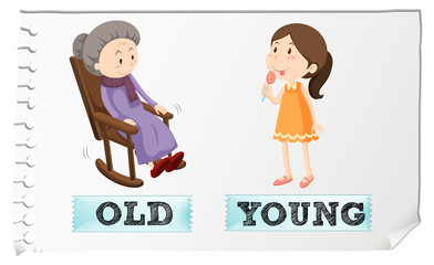 Opposite adjectives old and young