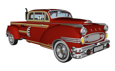 Red pickup truck - 3D render