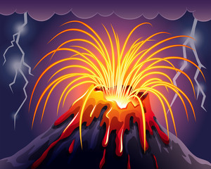 Volcano on thunderstorms night