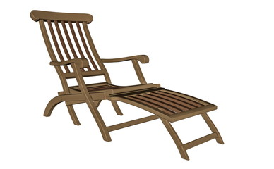 Wooden chaise longue - 3D render
