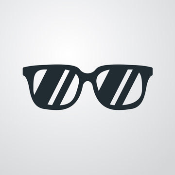Icono plano gafas de sol sobre fondo degradado
