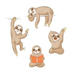 Cartoon cute  sloths set. Four sloths. Vector image.
