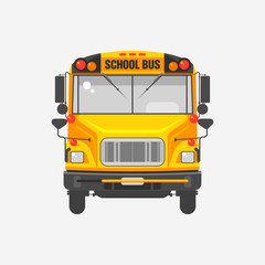 Flat icon yellow school bus