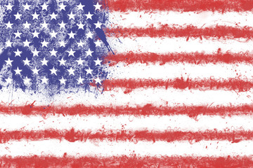 Flag of the United States of America created from splash colors.