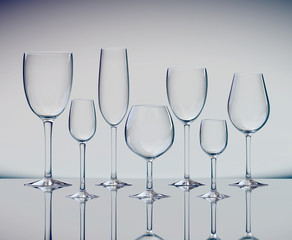 Set of various wine glasses