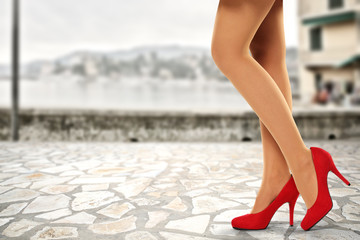 woman legs and street