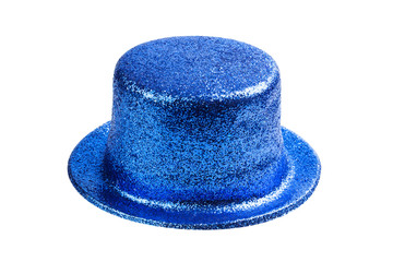 Blue glitter party hat isolated on white