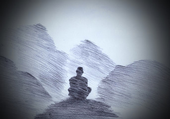 Buddhist monk in the mountains Wall mural