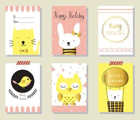 Light pink yellow gold love christmas greeting card with cat bir