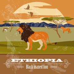 Ethiopia  landmarks. Retro styled image
