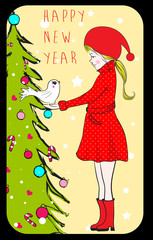 Fashionable girl with bird holds christmas tree and. Shopping sp