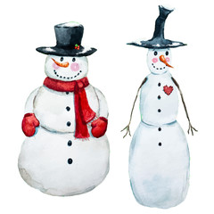Watercolor vector hand drawn snowman