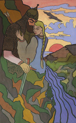 girl and the hero. Illustration for the fairy tale. Painting, gouache