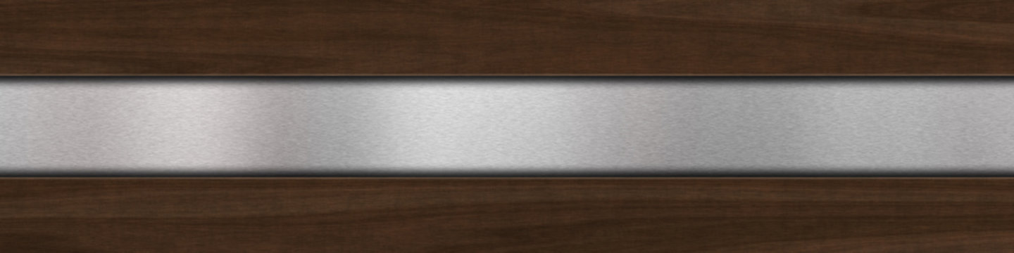 Background with dark wood over brushed metal