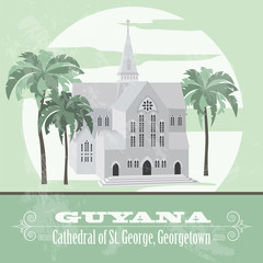Guyana  landmarks. Retro styled image.  Cathedral of St. George,