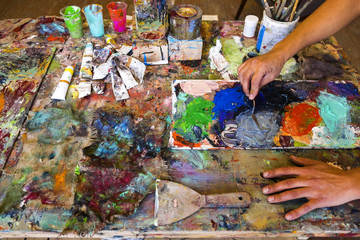 Artist's painting process