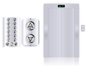 Elevator buttons. Lift panel. Elevator with with closed doors.