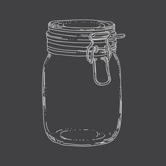 Hand drawn outline jar on dark background