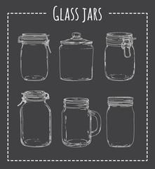 Vintage jar vector set. Hand drawn empty jars on dark background