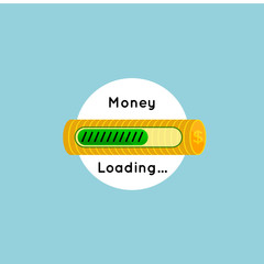 Loading success concept with loading bar and dollar sign suitable for business flat concepts. Eps10 vector illustration