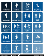Set of toilet signs. Toilet labels.