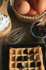 tasty waffle with cooking