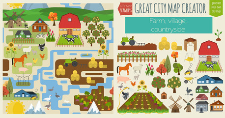 Great city map creator.Seamless pattern map. Village, farm, coun