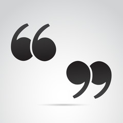 Quotation mark on white background. Vector art.