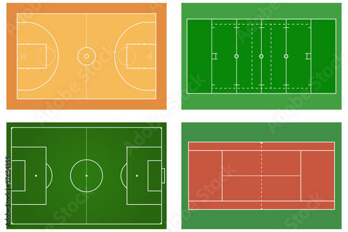u0026quot basketball court  tennis court  american football field  sport set  soccer field  green