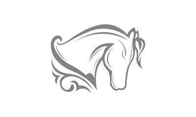 Horse Line Art Style Logo