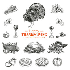 Vector hand drawn Thanksgiving set.