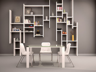 3d illustration of dark room filled with white shelves and chair