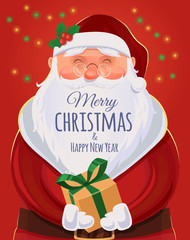 Christmas greeting card, poster. Santa Claus portrait. Funny Santa. Vector illustration. Merry Christmas and Happy New Year