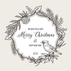 Hand drawn vintage christmas greeting card. Happy new year 2016.