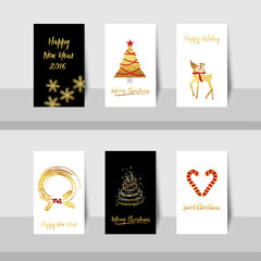 Merry Christmas New Year golden tree deer small card with gold shiny tree, curve lines, candy canes, reindeer and wreath in gold, red and black or white colors background.