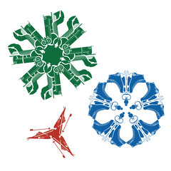 Lovely multi-colored snowflakes and sledges and skis skates