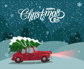 Merry Christmas illustration. Christmas landscape card design of retro red car with tree on the top.