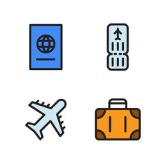 Travel by plane icons set