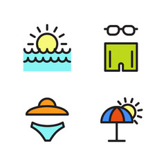 Beach vacation Equipment Icons set