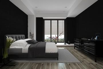 3D Design of Modern Architectural Home Bedroom
