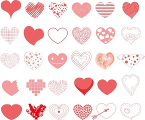 Vector hand drawn hearts set