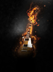 Flaming Electric Guitar on Dark Smoky Background