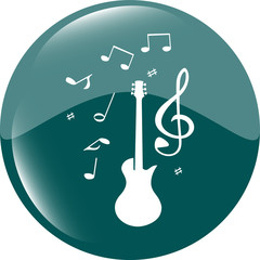 electric guitar sign icon. Music symbol. Web shiny button vector illustration