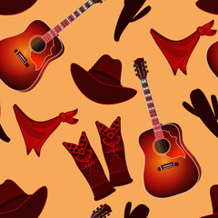 Seamless pattern with country music elements. Music background. Vector illustration